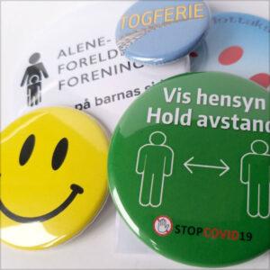 Ferdige buttons med motiv